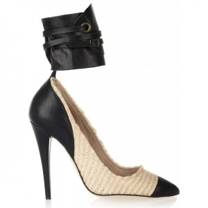 gava-isabel-marant-pump-leather-and-cotton-raffia-natural-black