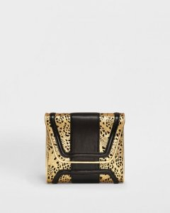 mini giovanna gold lacy boxy clutch