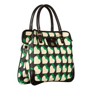 orla kiely love heart vinyl small jeanie bag 14RBLHR065 emerald