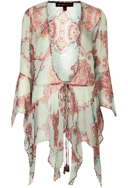 Draped Paisley tie blouse