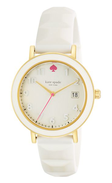 Kate Spade White Enamel Bezel silicone metro watch