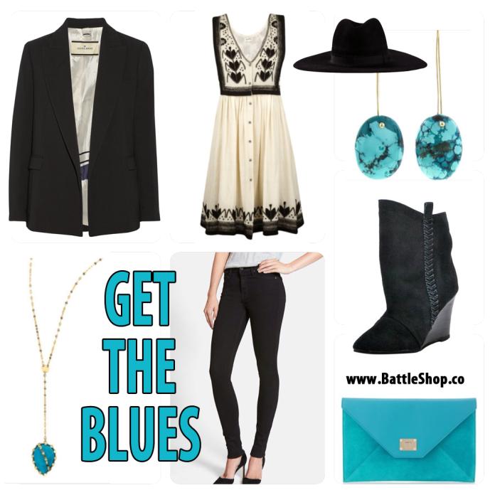 black white turquoise